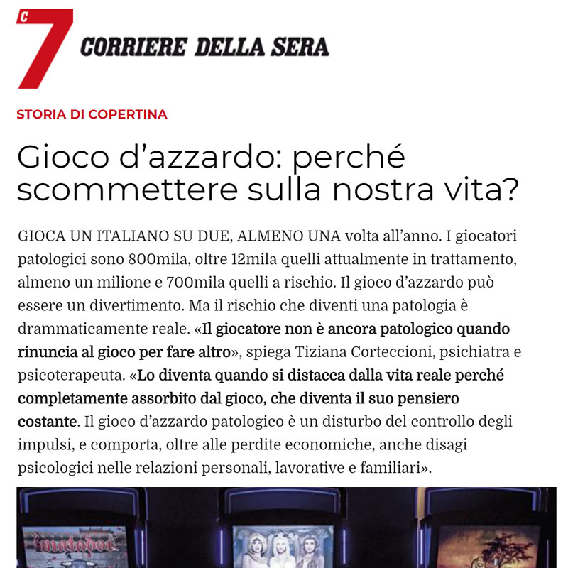 Corriere della Sera - Articolo della dott.ssa Tiziana Corteccioni